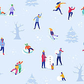 Winter season illustration Background with people skiing, ice skating, sledding. Christmas and New Year Holiday seamless pattern for design, wrapping paper, invitation, greeting card, poster. Vector
