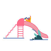 Happy Kid Girl Having Fun Sliding on Outdoor Playground. Child Smiling Playing on Slide, Childhood Active Games on Street. Summer Leisure Vacation Holidays Spare Time. Cartoon Flat Vector Illustration