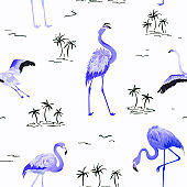 Tropical Flamingo seamless vector summer pattern with tropic palm trees. Bird background for wallpapers, web page, texture, textile.