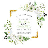 Botanical Wedding Invitation, vintage Save the Date, floral invite, thank you, rsvp rustic card design with gold foil decoration. Vector elegant modern template, trendy cover, graphic poster, retro brochure, design template