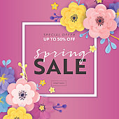 Spring Sale Special Offer Banner with Paper Cut Flowers. Floral Design Seasonal Promotion Discount Flyer, Brochure, Shopping Voucher. Vector illustration