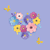 Paper Cut Flowers Greeting Card Template. Floral Background Heart Origami Style. Botanical Spring Summer Design for Banner, Poster. Vector illustration