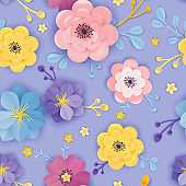 Paper Cut Floral Seamless Pattern. Spring Origami Flowers Background Botanical Design for Fabric, Texture, Print, Wallpaper. Vector illustration