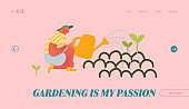 Horticulture and Olericulture Hobby Website Landing Page. Happy Woman Gardening Watering Plants from Can. Homework Character Care of Flowers and Herbs Web Page Banner. Cartoon Flat Vector Illustration