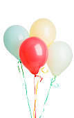pastel colored balloons isolated
