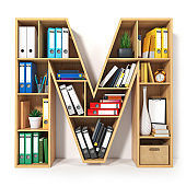 Letter M in the form of shelves with file folder, binders and books isolated on white. Archival, stacks of documents at the office or library.