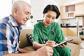 Nurse explaining results of medical test