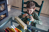 Toddler coloring wooden car