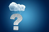 3d rendering of stone question mark under raining cloud on blue gradient background with copy space.