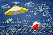 3d rendering of a beach umbrella and a beach ball against a chalk drawing of a beach, palm-tree and sea.
