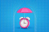 3d rendering of a retro alarm clock under a pink classic umbrella hiding from white lines representing rain drops.