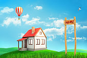 """3d rendering of colorful landscape with a small private house, an air balloon and a """"HOME"""" sign on blue sky background"""