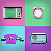 3d rendering of four contrast background squares with a retro phone, a radio, a TV set and an alarm clock.