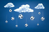 3d rendering of football balls falling from white clouds on blue background