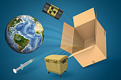 3d rendering of Earth, radioactive waste barrel, trash can, and syringe flying out of brown cardboard box on blue gradient background.