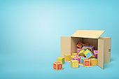 3d rendering of cardboard box lying sidelong full of ABC blocks on light-blue background.