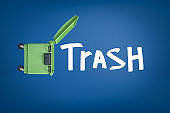 """3d rendering of open green trash bin and white """"TRASH"""" sign on blue background"""