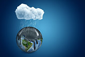3d rendering of white cloud above earth globe covered with black thick liquid on blue background
