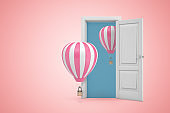 3d rendering of white open doorway with two hot air balloons on light pink background