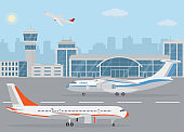 Airport building and airplanes on runway. Concept of air transport.