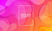 Fluid shape banner design background. Liquid geometric orange and pink gradient template.