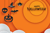 Halloween paper hanging in orange background. Use for invitation party card, flyer, greeting, banner, poster, vector illustration.