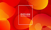 Fluid shape banner design background. Liquid geometric red and orange gradient template.