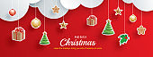Merry christmas and happy new year greeting card banner template. Use for header website, cover, flyer.