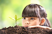 A girl planting young plant on soil