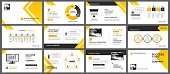 Presentation and slide layout background. Design yellow and orange gradient arrow template. Use for business annual report, flyer, marketing, leaflet, advertising, brochure, modern style.