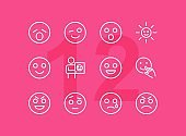 Emoticon line icons. Set of line icons on white background. Laugh, cry, emotion. Internet concept. Vector illustration can be used for topics like emotions, chats, internet