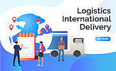 Logistics, international delivery lettering, Earth globe, truck