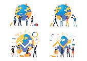 Worldwide business illustration set