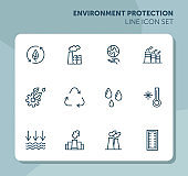 Environment protection line icon set
