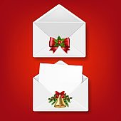 Merry Christmas Envelope Set Isolated Red Background