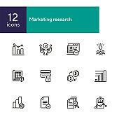 Marketing research line icon set