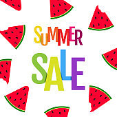 Summer Sale Poster With Watermelon And Text