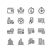 Financial services line icon set