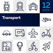 Transport line icon set