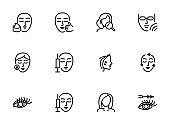Cosmetology line icon set