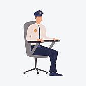 Policemen sitting in chair
