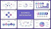 Set of marketing or economics concept infographic charts (2)