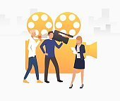 Television crew shooting news vector illustration