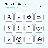 Global healthcare line icon set