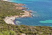 Coastal landscape, Roccapina, Corsica island, France.