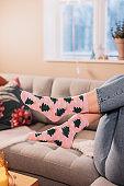 Christmas socks stockings with christmas tree