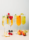 Mimosas ans bellinis champagne prosecco cocktails