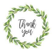 Eucalyptus wreath with thank you text