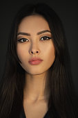 Asian Woman Beauty Face Closeup Portrait