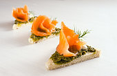 three canapes in a row with smoked salmon, pesto, cream and dill garnish on a light background with copy space